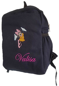 Red Minnie mouse denim bag with name