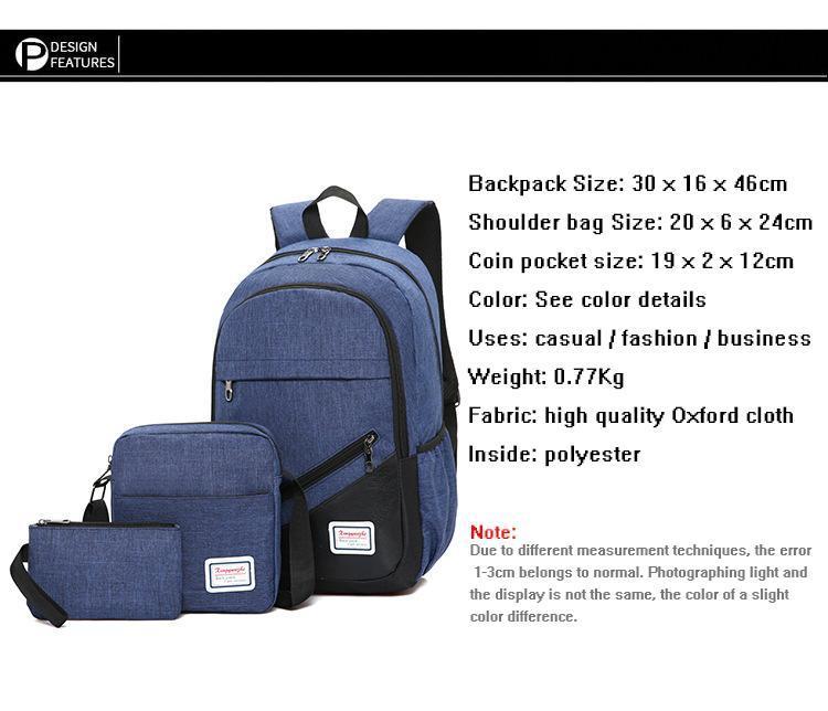 Backpack 3in1 Dark Blue Fashion bag School bag
