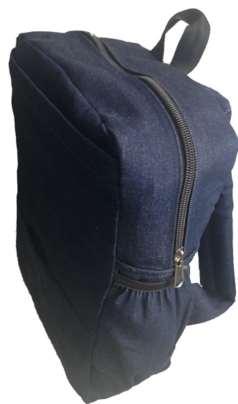 School Bag Plain Denim Navy Blue Single Padded