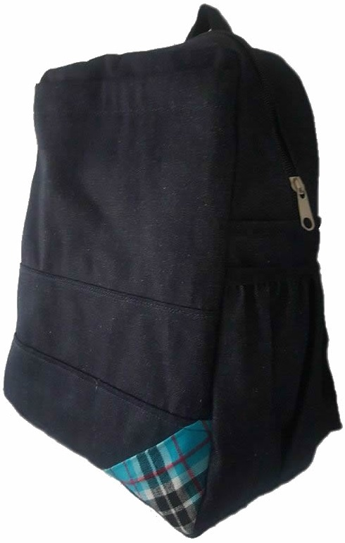 Denim Bag with blue african corner
