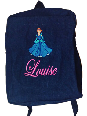 Cinderella denim bag with name print