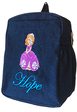 Sophia denim bag with name print