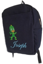 Green Pj mask denim Bag with name print