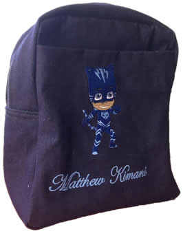 Blue Pj Mask Denim Bag With Name Print