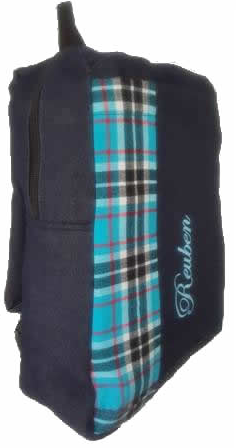 Denim Bag with blue african and name print