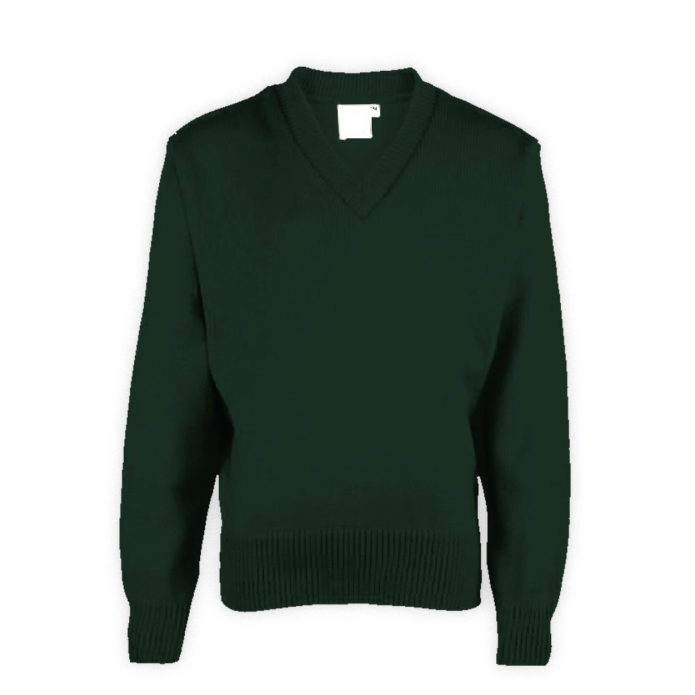 Dark Green Plain School Sweaters