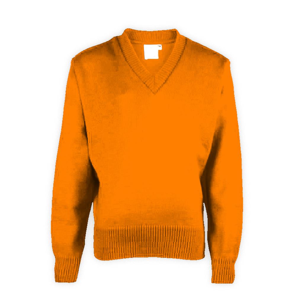 Orange Plain School Sweater
