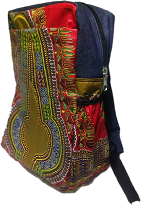 Red Dashiki Denim Laptop Bag