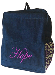 Denim Bag With purple African and Name Print