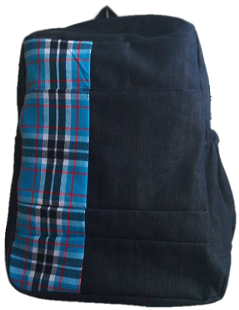 Denim Bag with blue african finishing