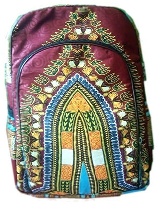 Maroon Dashiki laptop backpack