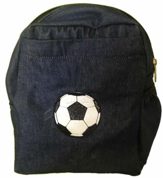 Soccer ball denim bag with name print