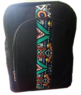 Heavy Denim laptop bag with Ankara Lining
