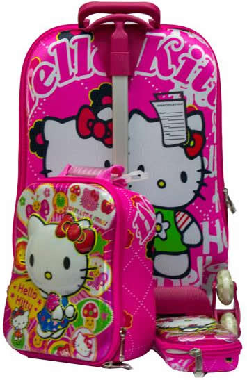 Pink Hello Kitty 3in1 Suitcase Trolley set