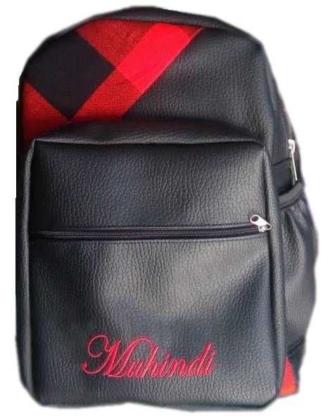 Padded Leather Laptop bag with name print