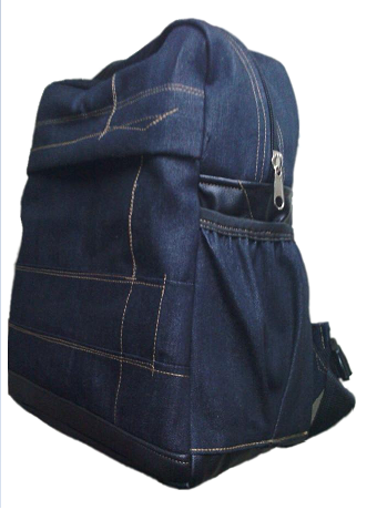 Padded denim Laptop Bag With leather base