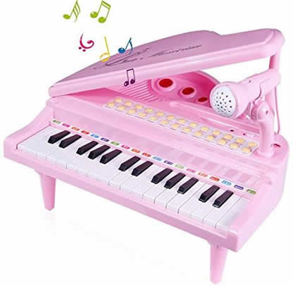 Electronic Piano Toy with microphone pink