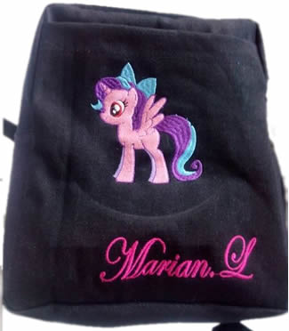 Pony denim bag with name print