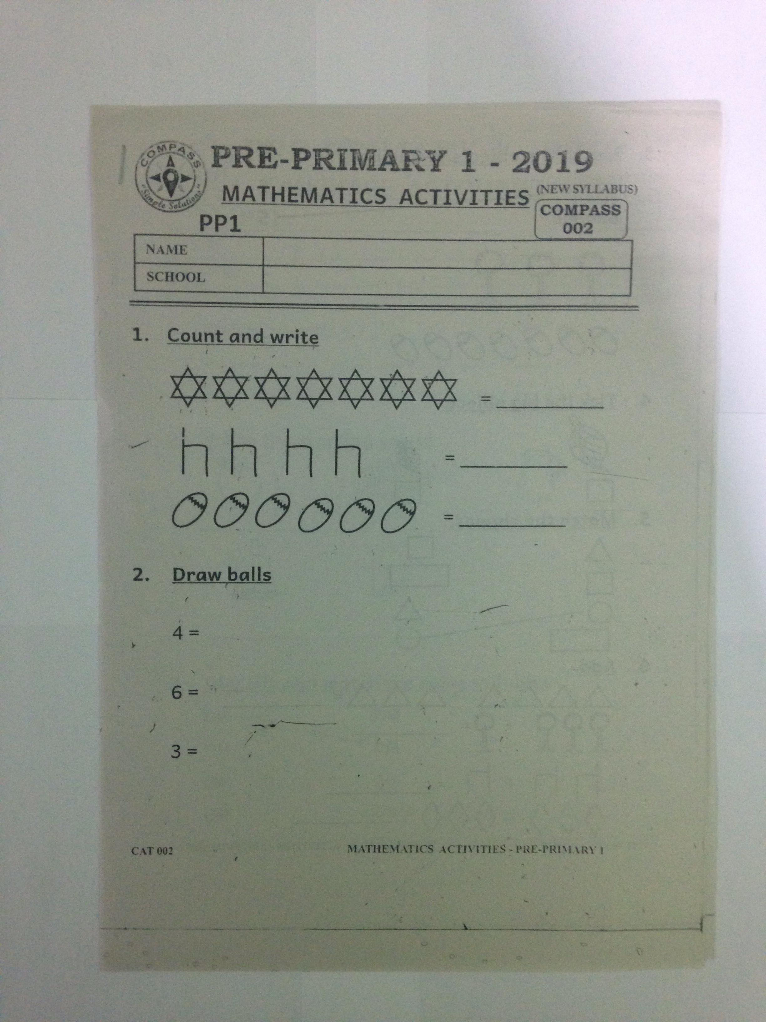 Pre-Primary 1 Mathematics Activities