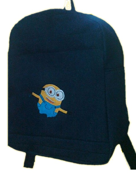 Minion Single Pad School Bag Small Size Denim
