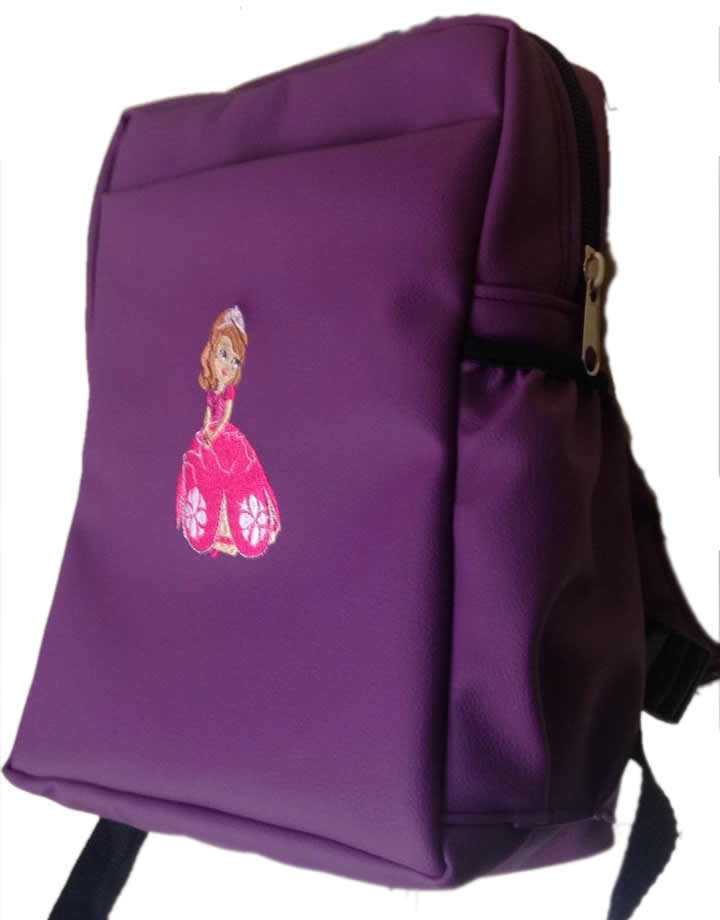 Sophia Single Pad School Bag Small Size Purple Leather
