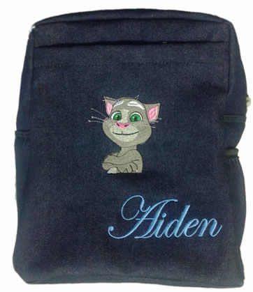 Talking tom Denim bag with name print