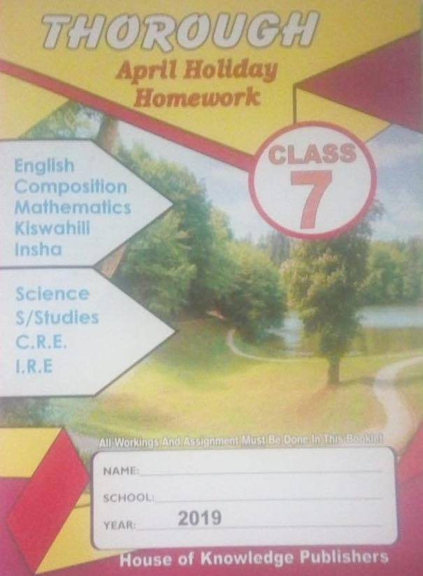 Thorough Homework Std 7 April 2019