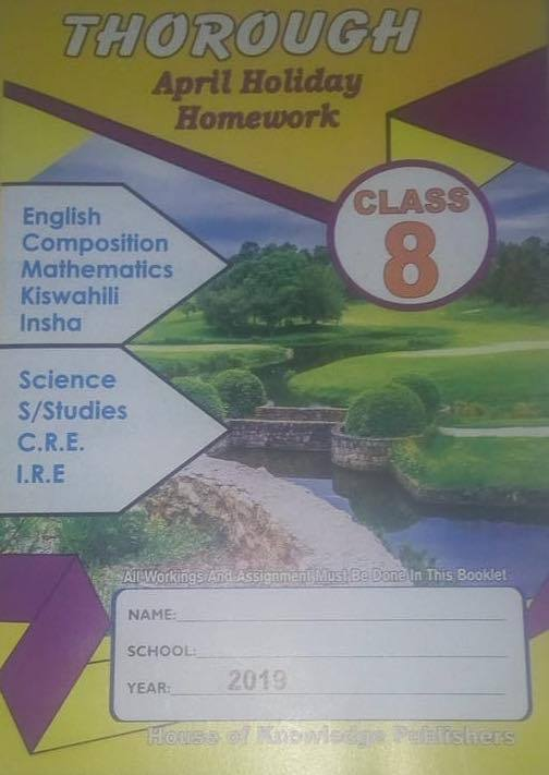 Thorough Homework Std 8 April 2019